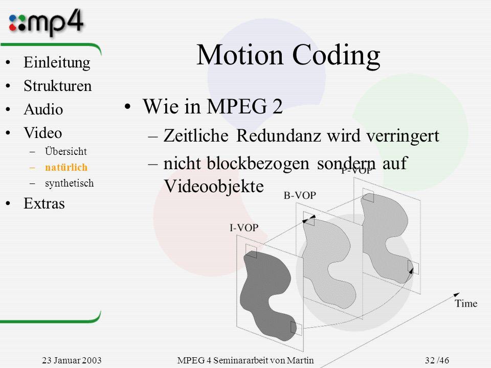 23 Januar 2003MPEG 4 Seminararbeit von Martin Goralczyk 32 /46 Motion Coding Wie in MPEG 2 –Zeitliche Redundanz wird verringert –nicht blockbezogen so