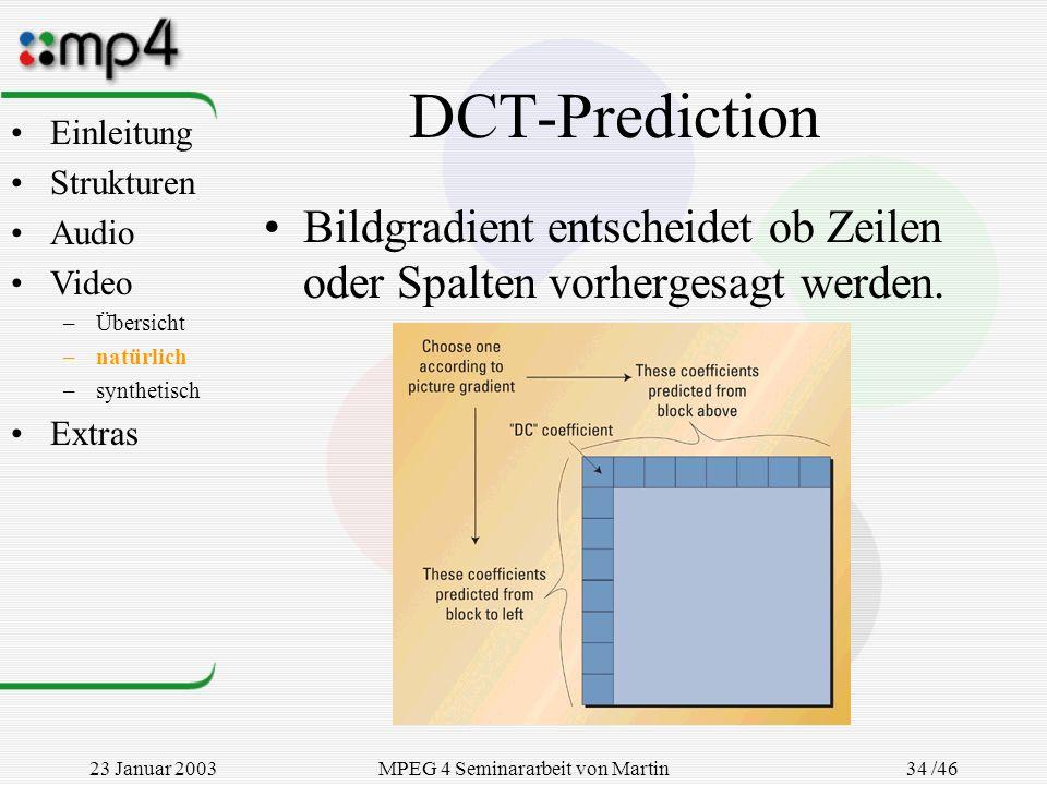 23 Januar 2003MPEG 4 Seminararbeit von Martin Goralczyk 34 /46 DCT-Prediction Bildgradient entscheidet ob Zeilen oder Spalten vorhergesagt werden. Ein