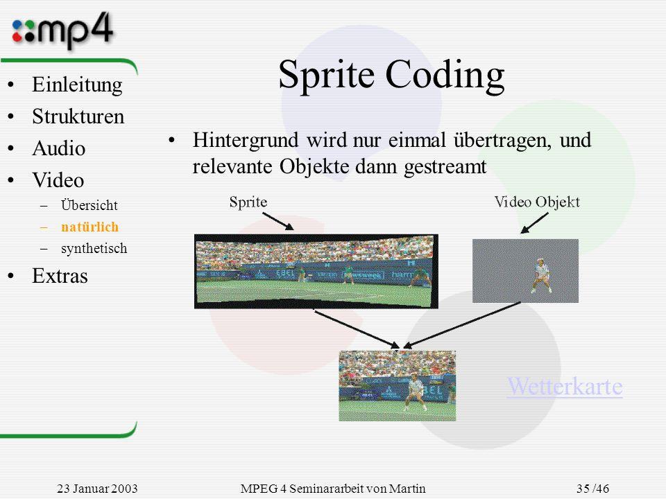 23 Januar 2003MPEG 4 Seminararbeit von Martin Goralczyk 35 /46 Sprite Coding Hintergrund wird nur einmal übertragen, und relevante Objekte dann gestre