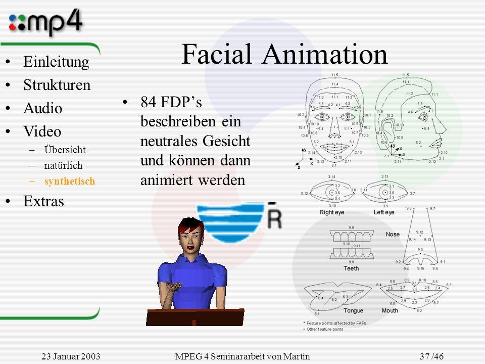23 Januar 2003MPEG 4 Seminararbeit von Martin Goralczyk 37 /46 Facial Animation 84 FDPs beschreiben ein neutrales Gesicht und können dann animiert wer