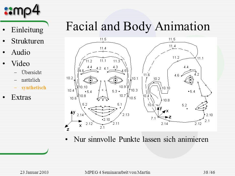 23 Januar 2003MPEG 4 Seminararbeit von Martin Goralczyk 38 /46 Facial and Body Animation Nur sinnvolle Punkte lassen sich animieren Einleitung Struktu
