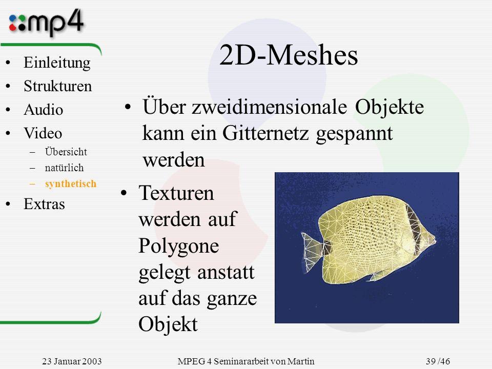 23 Januar 2003MPEG 4 Seminararbeit von Martin Goralczyk 39 /46 2D-Meshes Über zweidimensionale Objekte kann ein Gitternetz gespannt werden Texturen we