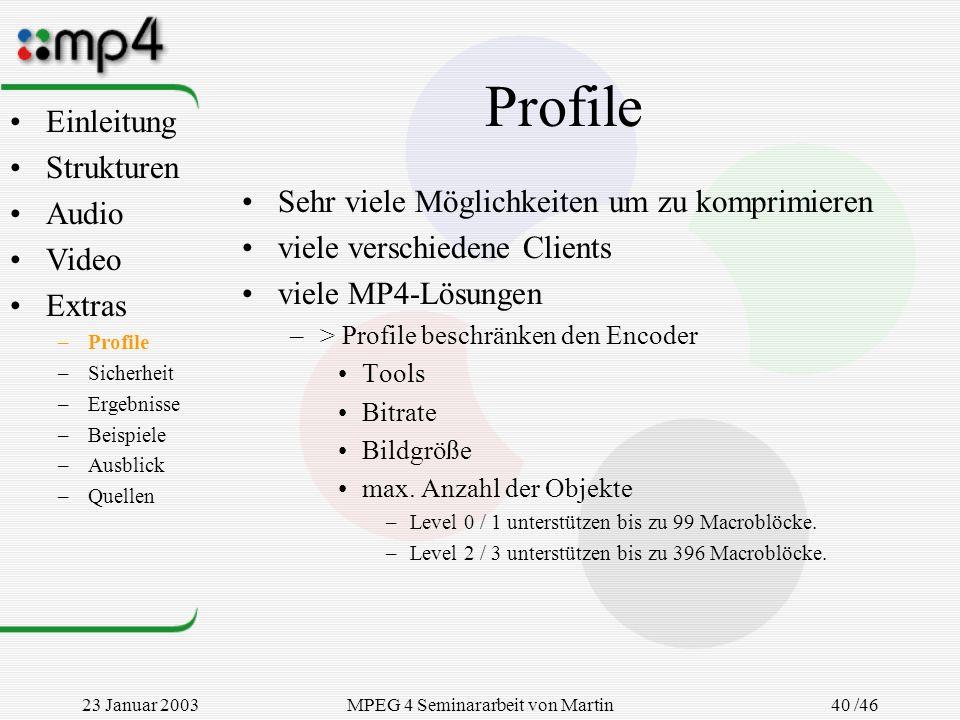 23 Januar 2003MPEG 4 Seminararbeit von Martin Goralczyk 40 /46 Profile Sehr viele Möglichkeiten um zu komprimieren viele verschiedene Clients viele MP