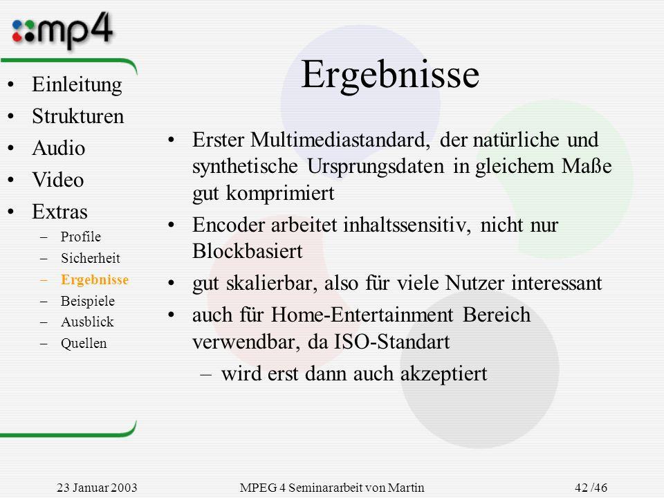 23 Januar 2003MPEG 4 Seminararbeit von Martin Goralczyk 42 /46 Ergebnisse Erster Multimediastandard, der natürliche und synthetische Ursprungsdaten in