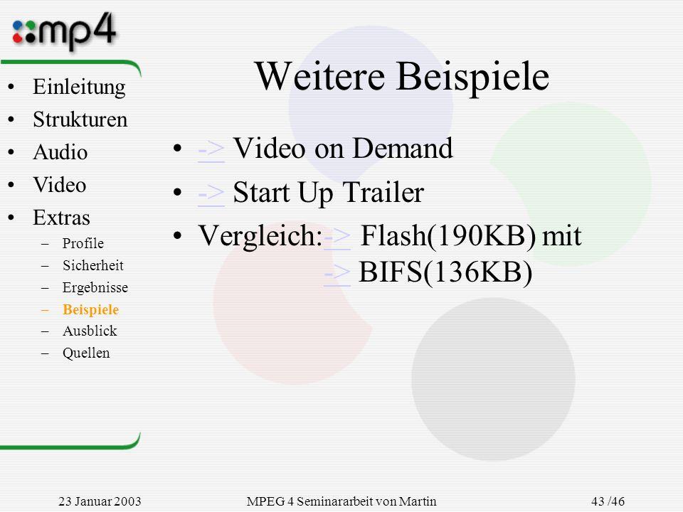 23 Januar 2003MPEG 4 Seminararbeit von Martin Goralczyk 43 /46 Weitere Beispiele -> Video on Demand-> -> Start Up Trailer-> Vergleich:-> Flash(190KB)