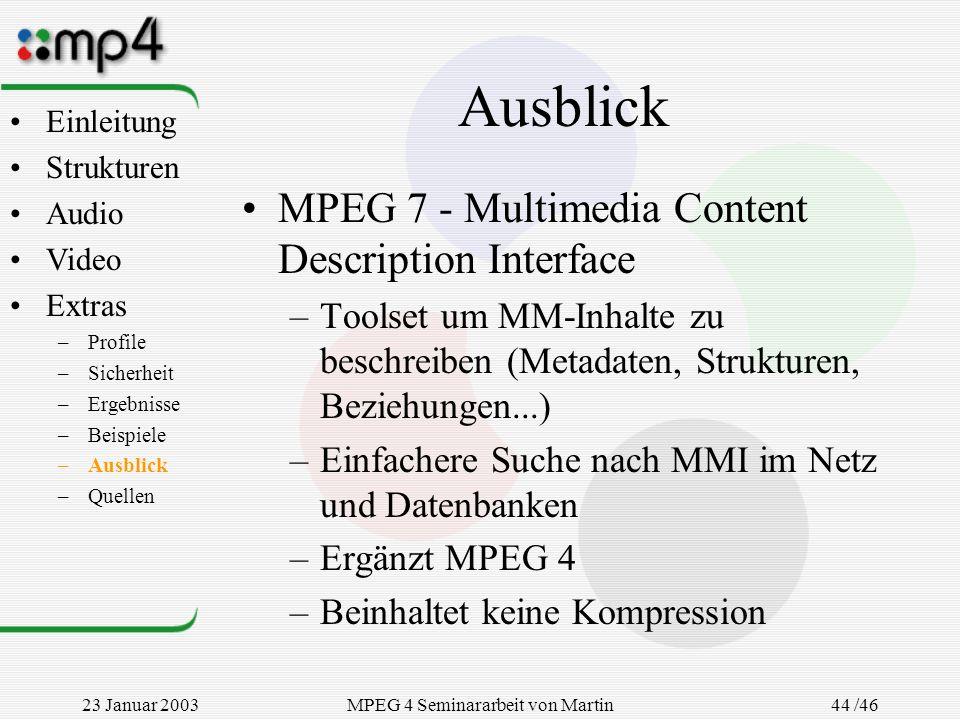 23 Januar 2003MPEG 4 Seminararbeit von Martin Goralczyk 44 /46 Ausblick MPEG 7 - Multimedia Content Description Interface –Toolset um MM-Inhalte zu be
