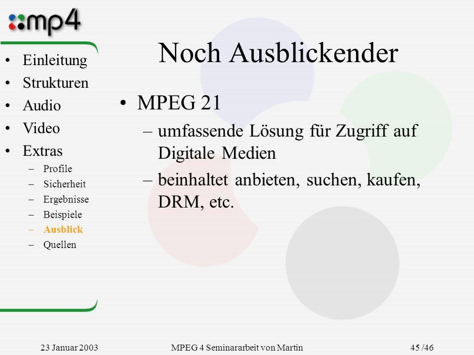 23 Januar 2003MPEG 4 Seminararbeit von Martin Goralczyk 45 /46 Noch Ausblickender MPEG 21 –umfassende Lösung für Zugriff auf Digitale Medien –beinhalt