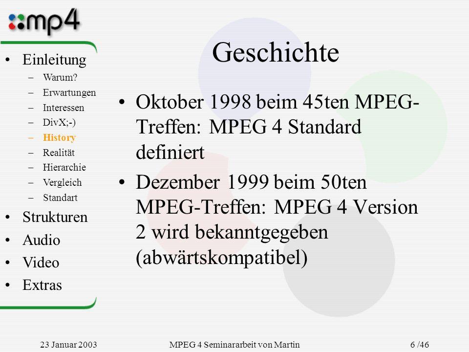 23 Januar 2003MPEG 4 Seminararbeit von Martin Goralczyk 6 /46 Geschichte Oktober 1998 beim 45ten MPEG- Treffen: MPEG 4 Standard definiert Dezember 199