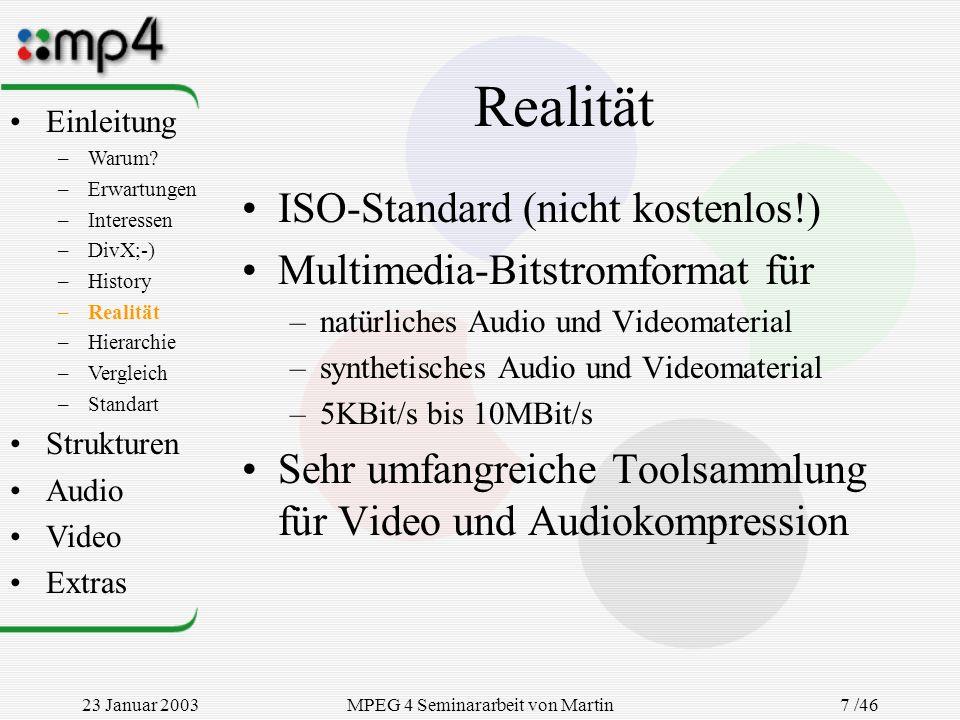 23 Januar 2003MPEG 4 Seminararbeit von Martin Goralczyk 7 /46 Realität ISO-Standard (nicht kostenlos!) Multimedia-Bitstromformat für –natürliches Audi