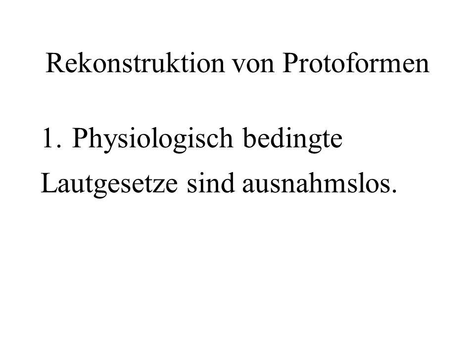 Rekonstruktion von Protoformen 1.Physiologisch bedingte Lautgesetze sind ausnahmslos.