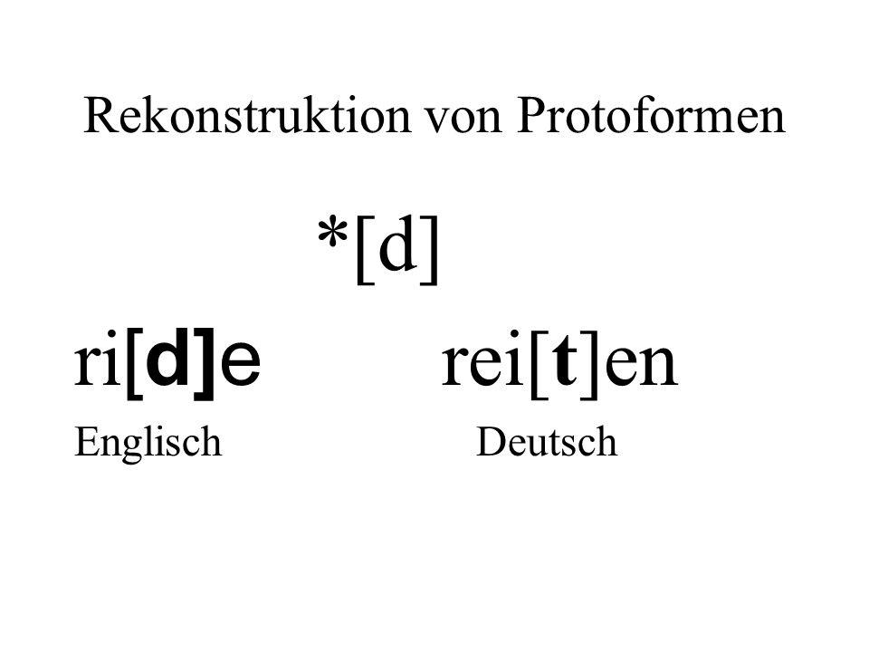Rekonstruktion von Protoformen *[d] ri [d]e rei[t]en Englisch Deutsch