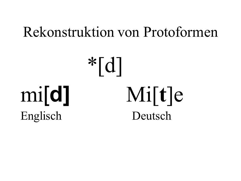 Rekonstruktion von Protoformen *[d] mi [d] Mi[t]e Englisch Deutsch