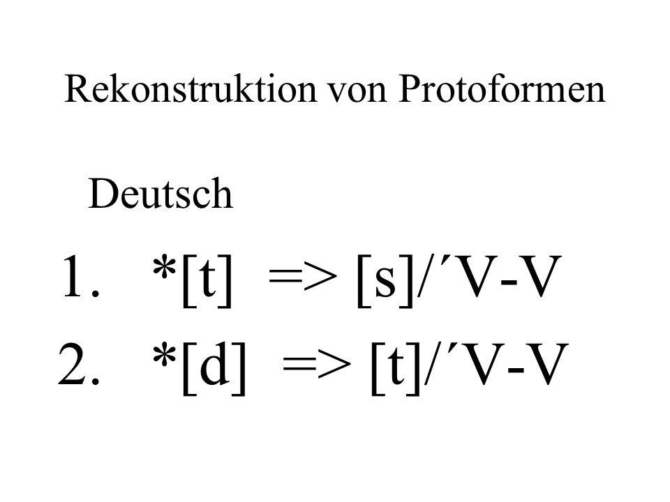 Rekonstruktion von Protoformen Deutsch 1. *[t] => [s]/´V-V 2. *[d] => [t]/´V-V