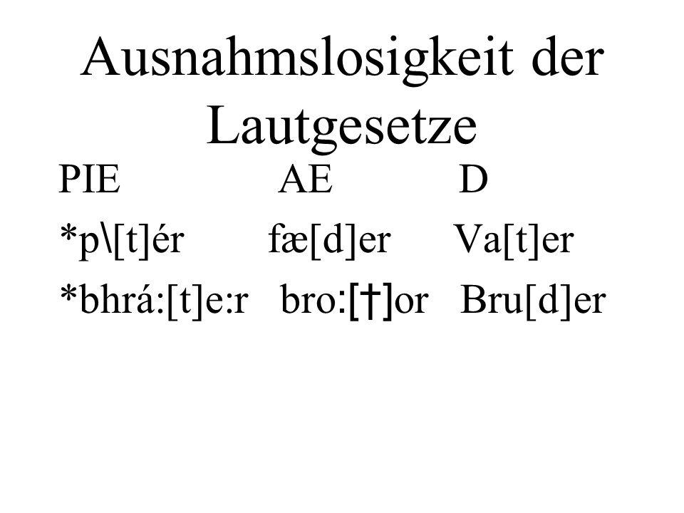 Ausnahmslosigkeit der Lautgesetze PIE AE D *p \ [t]ér fæ[d]er Va[t]er *bhrá:[t]e:r bro :[] or Bru[d]er