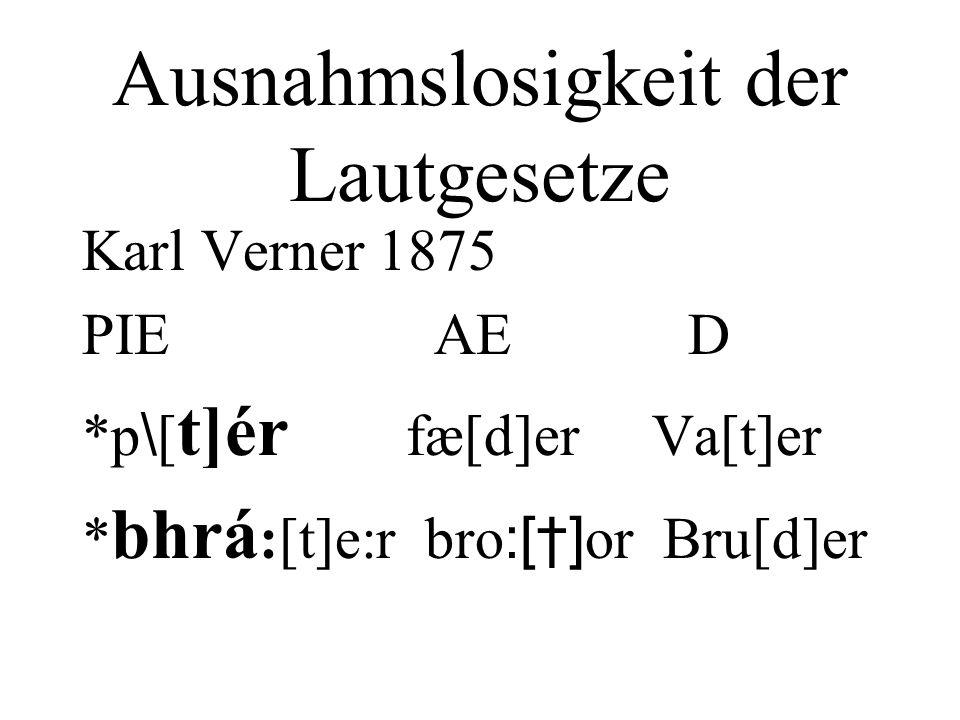 Ausnahmslosigkeit der Lautgesetze Karl Verner 1875 PIE AE D *p \ [ t]ér fæ[d]er Va[t]er * bhrá :[t]e:r bro :[] or Bru[d]er
