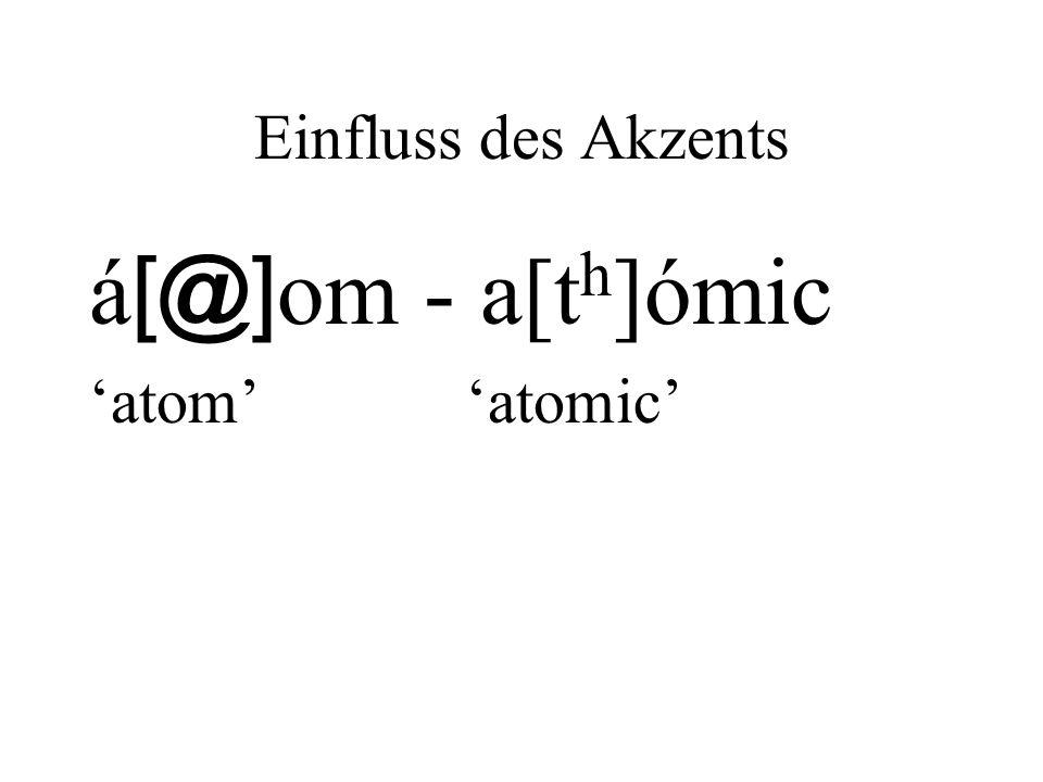 Einfluss des Akzents á [@] om - a[t h ]ómic atom atomic