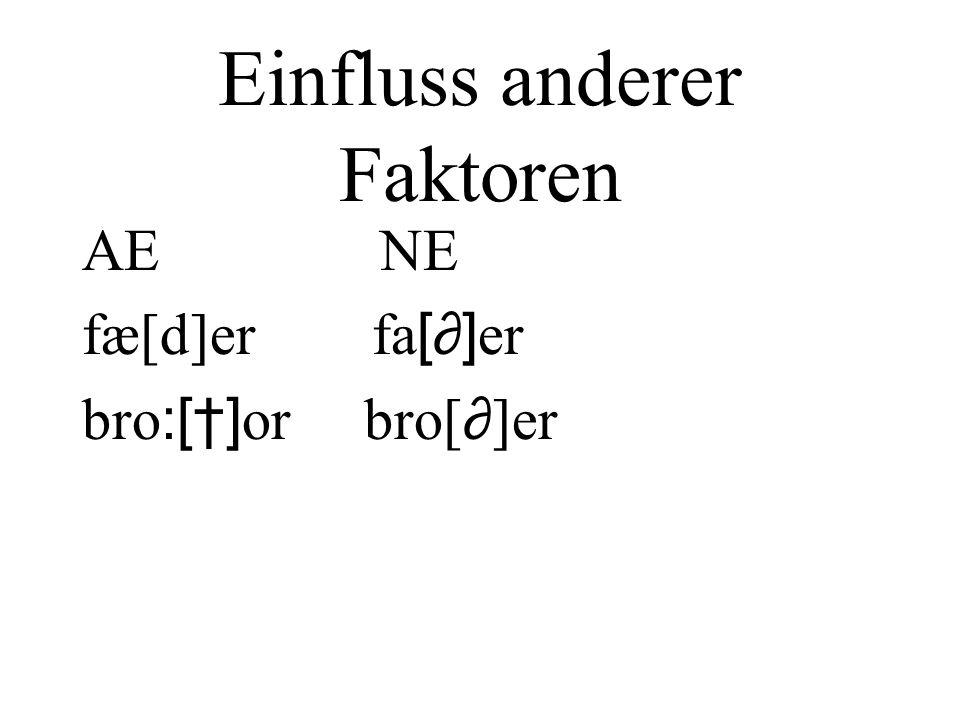 Einfluss anderer Faktoren AE NE fæ[d]er fa [] er bro :[] or bro[ ]er