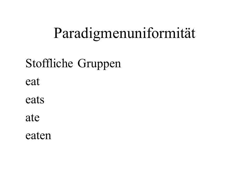 Paradigmenuniformität Stoffliche Gruppen eat eats ate eaten