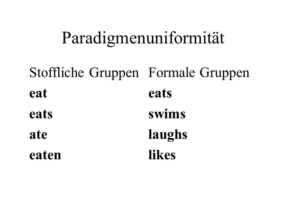 Paradigmenuniformität Stoffliche Gruppen eat eats ate eaten Formale Gruppen eats swims laughs likes