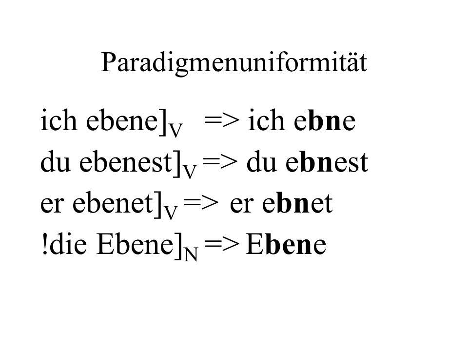 Paradigmenuniformität ich ebene] V => ich ebne du ebenest] V => du ebnest er ebenet] V => er ebnet !die Ebene] N => Ebene
