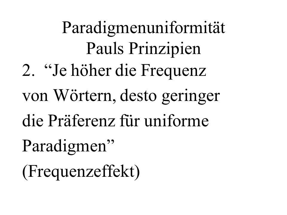 Paradigmenuniformität Pauls Prinzipien 2. Je höher die Frequenz von Wörtern, desto geringer die Präferenz für uniforme Paradigmen (Frequenzeffekt)