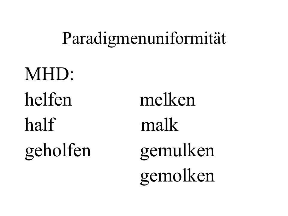 Paradigmenuniformität MHD: helfen melken half malk geholfen gemulken gemolken