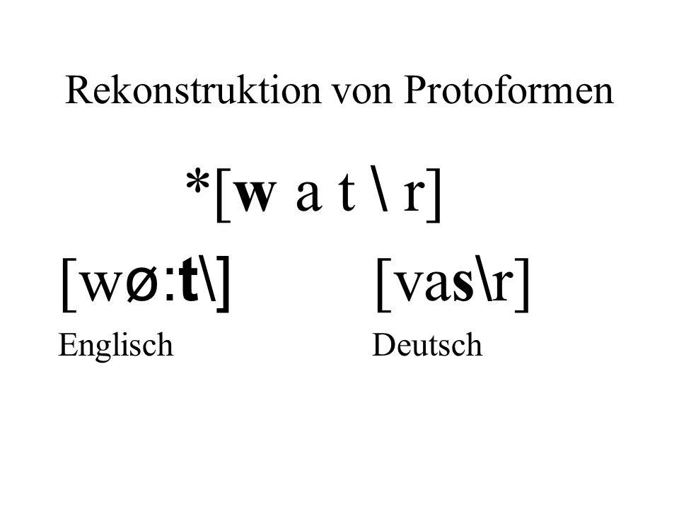 Rekonstruktion von Protoformen *[w a t \ r] [w ø:t\] [vas \ r] Englisch Deutsch