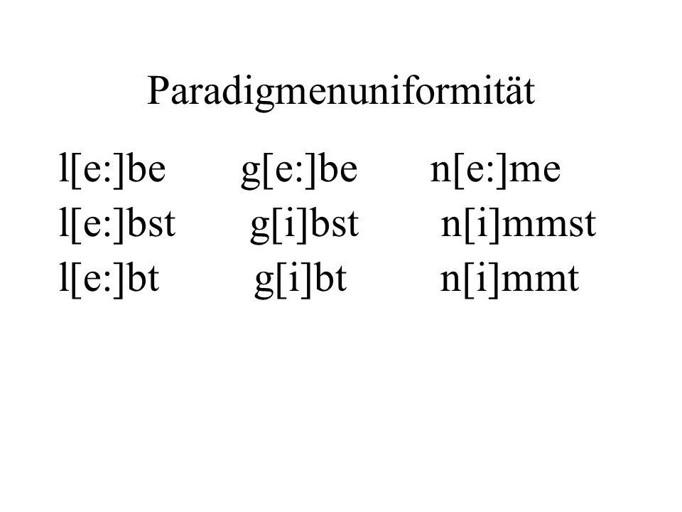 Paradigmenuniformität l[e:]be g[e:]be n[e:]me l[e:]bst g[i]bst n[i]mmst l[e:]bt g[i]bt n[i]mmt