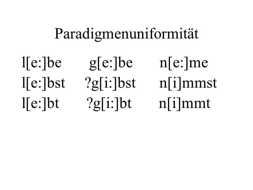 Paradigmenuniformität l[e:]be g[e:]be n[e:]me l[e:]bst ?g[i:]bst n[i]mmst l[e:]bt ?g[i:]bt n[i]mmt