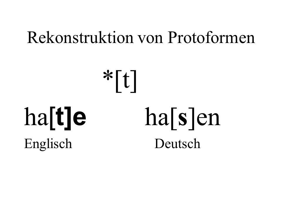 Rekonstruktion von Protoformen *[t] ha [t]e ha[s]en Englisch Deutsch