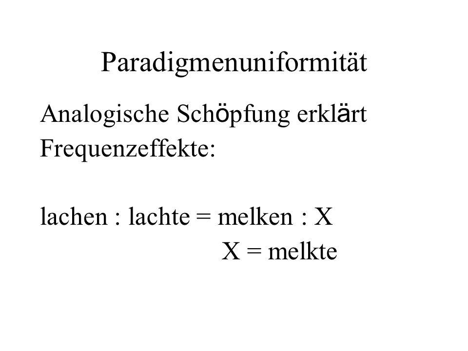 Paradigmenuniformität Analogische Sch ö pfung erkl ä rt Frequenzeffekte: lachen : lachte = melken : X X = melkte