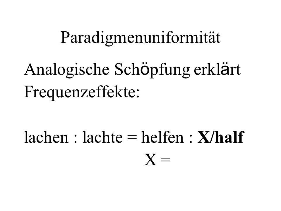 Paradigmenuniformität Analogische Sch ö pfung erkl ä rt Frequenzeffekte: lachen : lachte = helfen : X/half X =