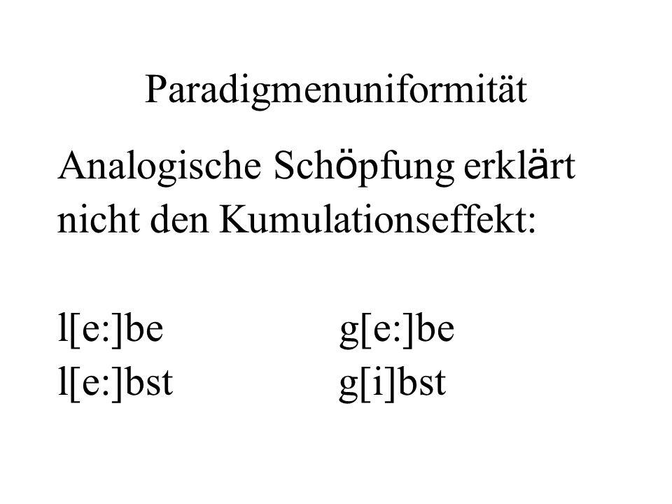 Paradigmenuniformität Analogische Sch ö pfung erkl ä rt nicht den Kumulationseffekt: l[e:]be g[e:]be l[e:]bst g[i]bst