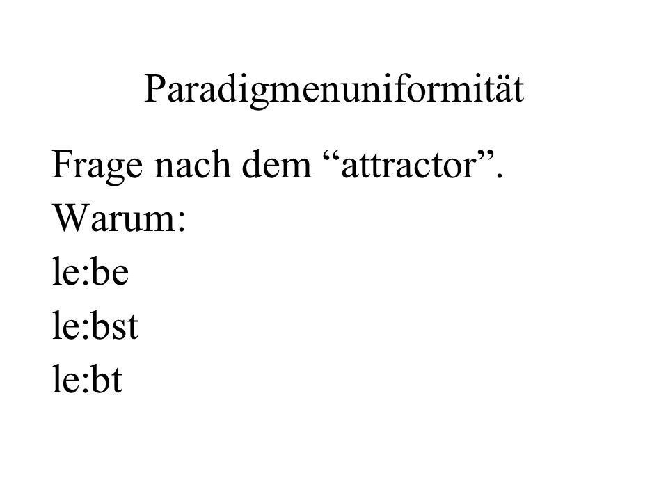 Paradigmenuniformität Frage nach dem attractor. Warum: le:be le:bst le:bt