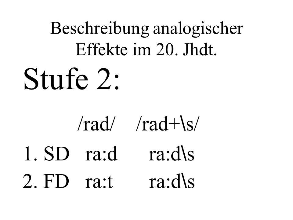 Beschreibung analogischer Effekte im 20. Jhdt. Stufe 2: /rad/ /rad+ \ s/ 1. SD ra:d ra:d \ s 2. FD ra:t ra:d \ s