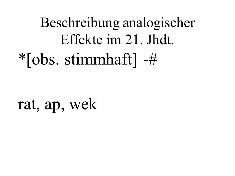 Beschreibung analogischer Effekte im 21. Jhdt. *[obs. stimmhaft] -# rat, ap, wek