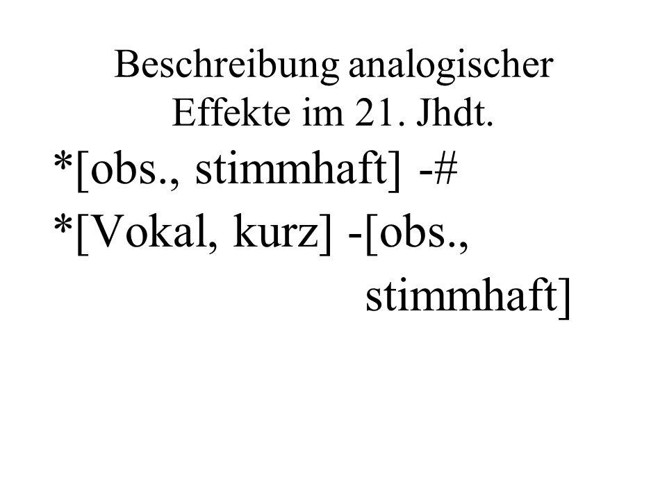 Beschreibung analogischer Effekte im 21. Jhdt. *[obs., stimmhaft] -# *[Vokal, kurz] -[obs., stimmhaft]