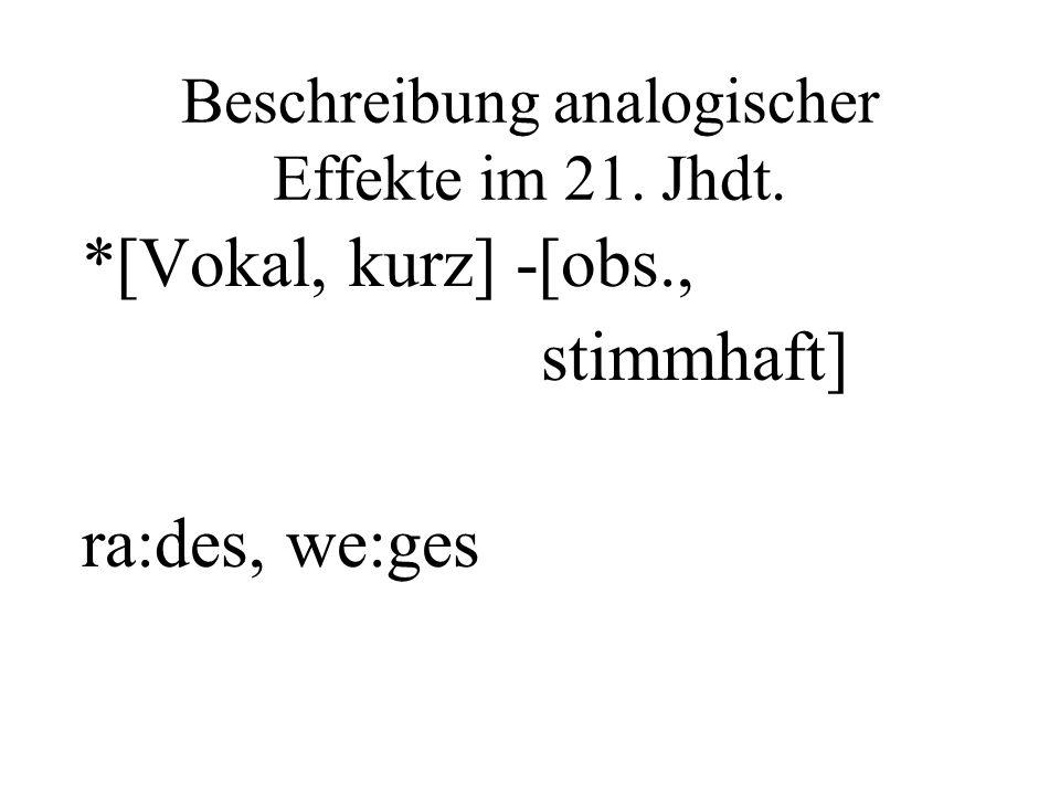 Beschreibung analogischer Effekte im 21. Jhdt. *[Vokal, kurz] -[obs., stimmhaft] ra:des, we:ges