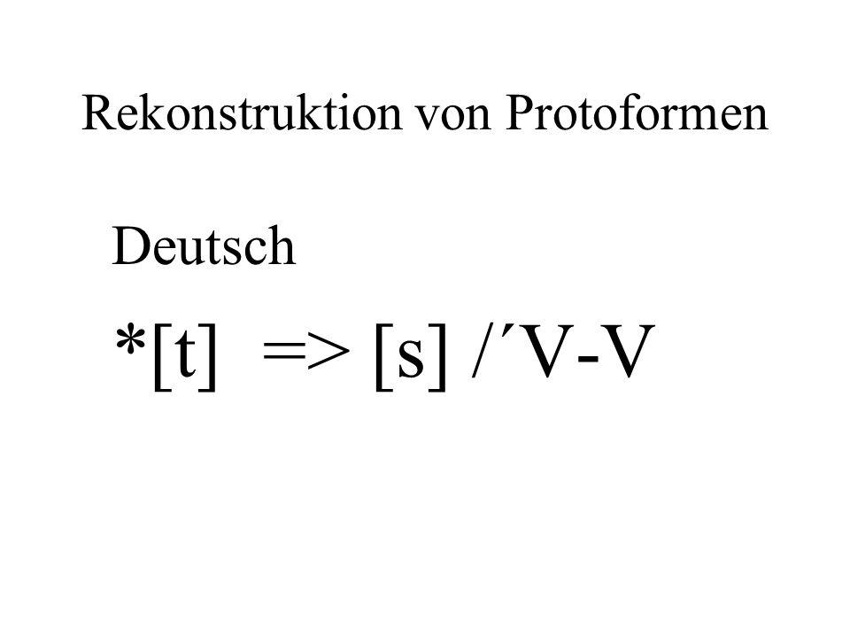 Rekonstruktion von Protoformen Deutsch *[t] => [s] /´V-V