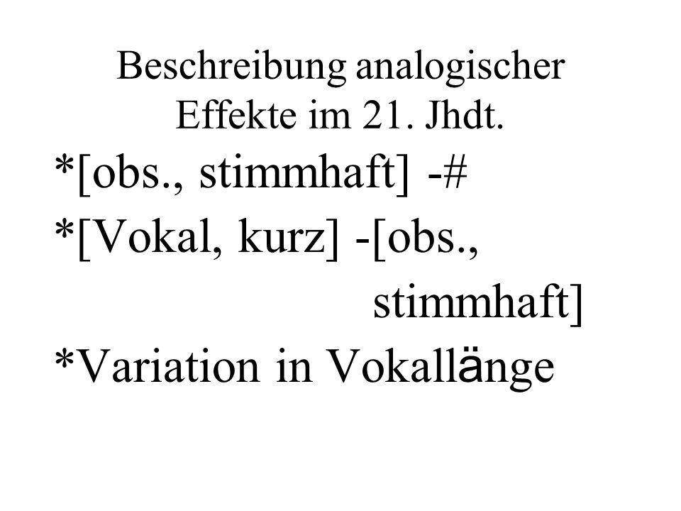 Beschreibung analogischer Effekte im 21. Jhdt. *[obs., stimmhaft] -# *[Vokal, kurz] -[obs., stimmhaft] *Variation in Vokall ä nge