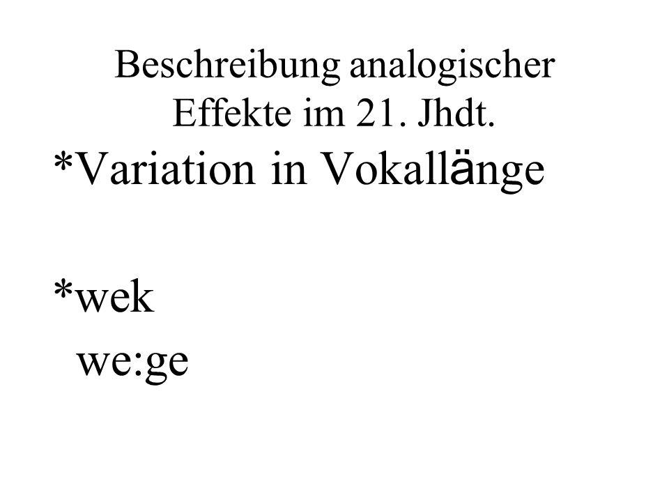 Beschreibung analogischer Effekte im 21. Jhdt. *Variation in Vokall ä nge *wek we:ge
