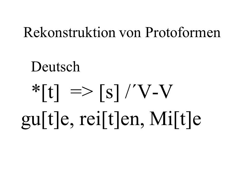 Rekonstruktion von Protoformen Deutsch *[t] => [s] /´V-V gu[t]e, rei[t]en, Mi[t]e