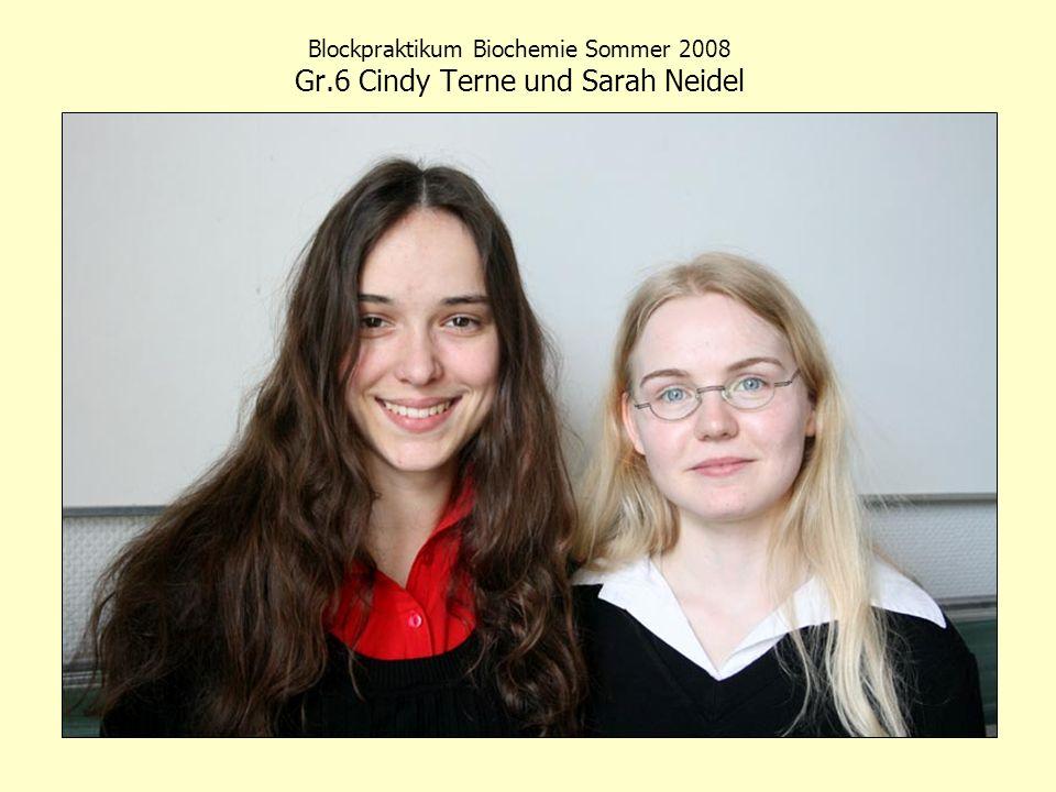 Blockpraktikum Biochemie Sommer 2008 Gr.6 Cindy Terne und Sarah Neidel