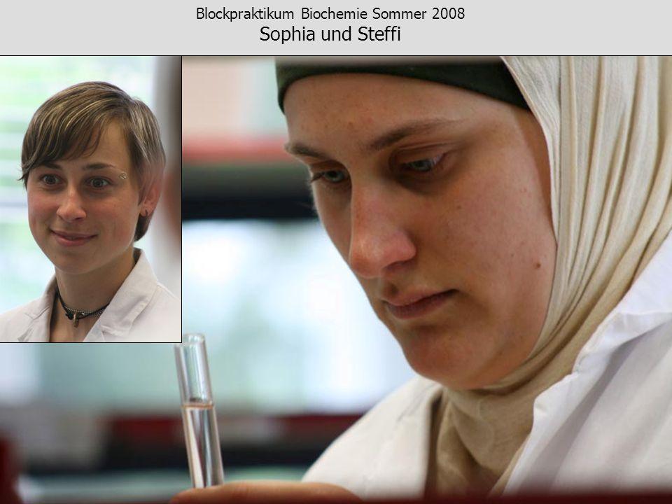 Blockpraktikum Biochemie Sommer 2008 Sophia und Steffi