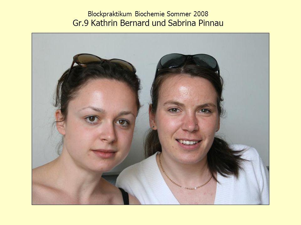 Blockpraktikum Biochemie Sommer 2008 Gr.9 Kathrin Bernard und Sabrina Pinnau