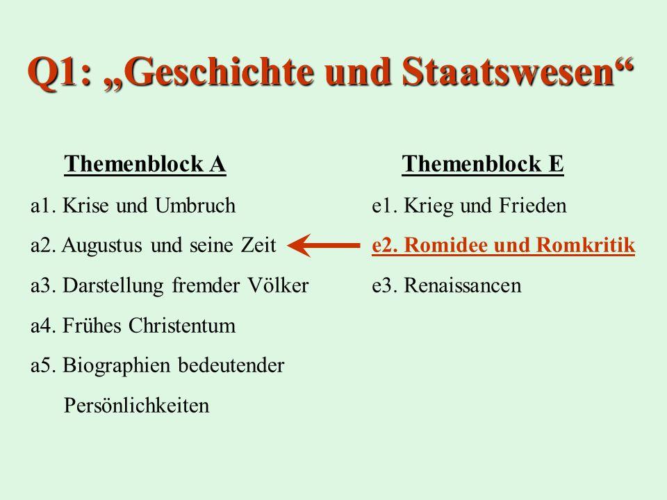Q1: Geschichte und Staatswesen Themenblock A a1. Krise und Umbruch a2. Augustus und seine Zeit a3. Darstellung fremder Völker a4. Frühes Christentum a