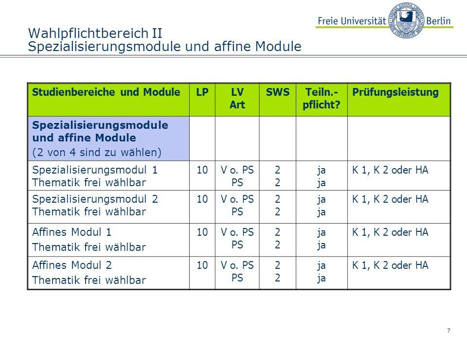 7 Wahlpflichtbereich II Spezialisierungsmodule und affine Module Studienbereiche und ModuleLPLV Art SWSTeiln.- pflicht? Prüfungsleistung Spezialisieru