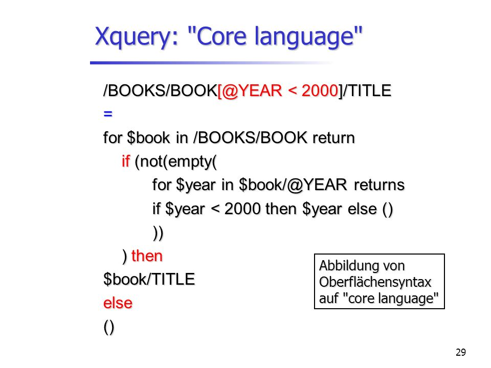 29 Xquery: Core language /BOOKS/BOOK[@YEAR < 2000]/TITLE = for $book in /BOOKS/BOOK return if (not(empty( for $year in $book/@YEAR returns if $year < 2000 then $year else () )) ) then $book/TITLEelse() Abbildung von Oberflächensyntax auf core language