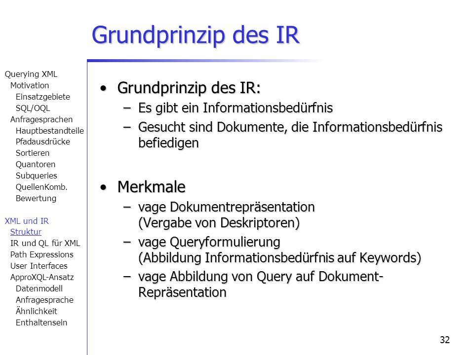 32 Grundprinzip des IR Grundprinzip des IR:Grundprinzip des IR: –Es gibt ein Informationsbedürfnis –Gesucht sind Dokumente, die Informationsbedürfnis befiedigen MerkmaleMerkmale –vage Dokumentrepräsentation (Vergabe von Deskriptoren) –vage Queryformulierung (Abbildung Informationsbedürfnis auf Keywords) –vage Abbildung von Query auf Dokument- Repräsentation Querying XML Motivation Einsatzgebiete SQL/OQL Anfragesprachen Hauptbestandteile Pfadausdrücke Sortieren Quantoren Subqueries QuellenKomb.
