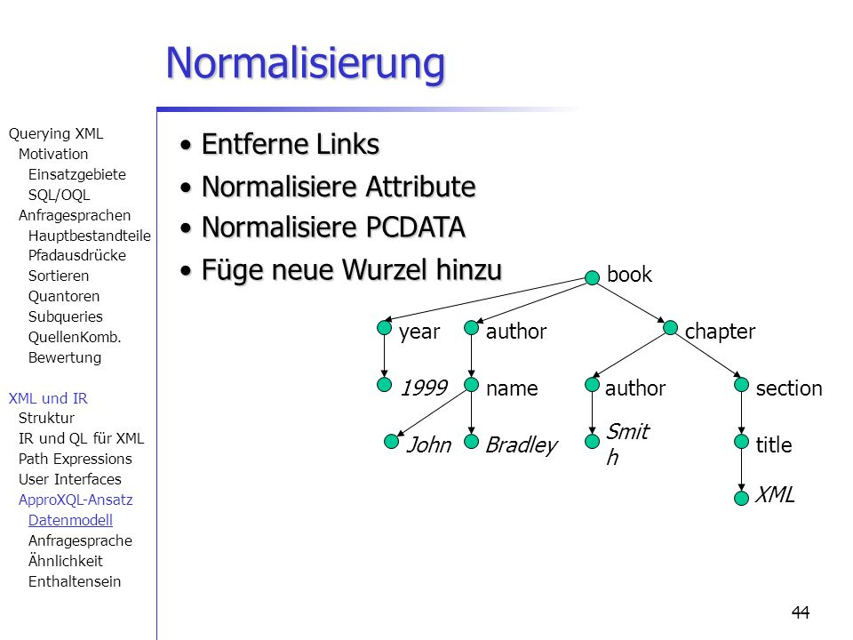 44 Normalisierung book chapter section title author nameauthor year 1999 XML Smit h BradleyJohn Füge neue Wurzel hinzu Füge neue Wurzel hinzu Normalis